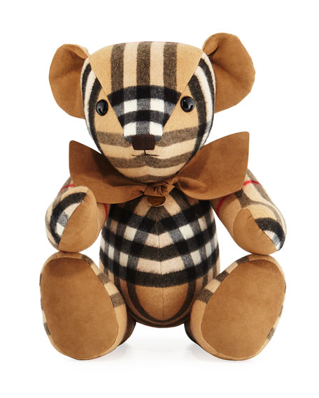 Burberry Thomas Check Cashmere Teddy Bear, Beige