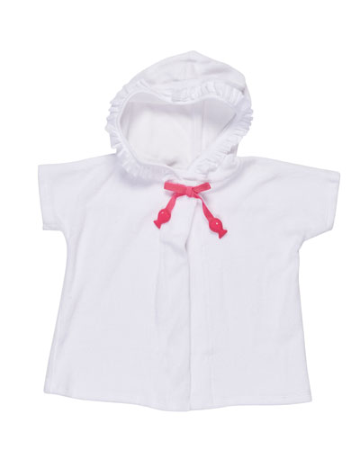Hooded Terry Swim Coverup, White, Size 6-24 Months