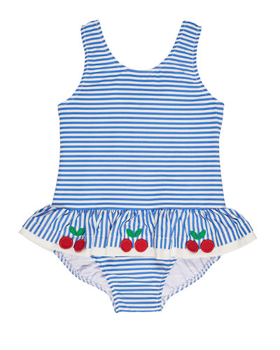 Skirted One-Piece Striped Seersucker Swimsuit, Blue, Size 6-24 Months