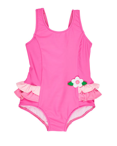 Florence Eiseman Ruffle-Trim Colorblock One-Piece Swimsuit, Pink,