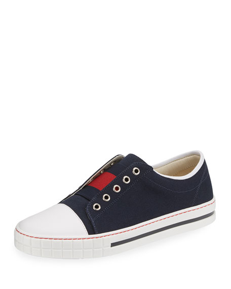 Gucci Canvas Slip-On Low-Top Sneaker, Blue/Red, Toddler Sizes