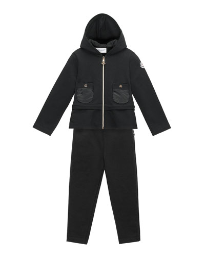 Hooded Two-Piece Track Suit, Black, Size 4-6