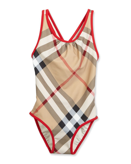 Burberry Beadnell Check One-Piece Swimsuit, Tan, Size 4-14