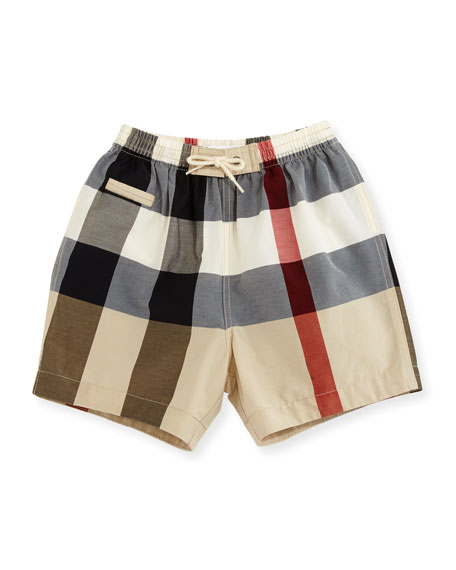 Burberry Saxon Check Swim Trunks, Multicolor, Size 6M-3