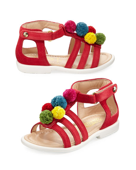 Aquazzura Suede Pompom Sandal, Red/Multicolor, Infant