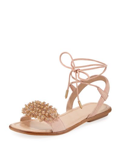 Monaco Suede Crystal Sandal, Pink, Youth