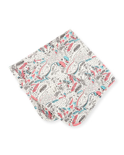 Printed Stretch Jersey Blanket, Pink/White