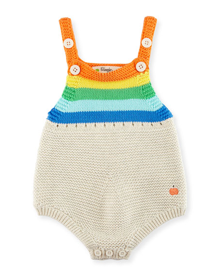 bonniemob Sleeveless Striped Organic Cotton Playsuit, Multicolor,