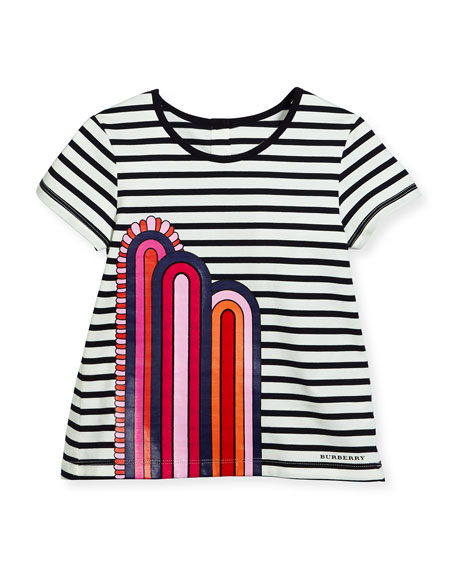 Burberry Striped Jersey Rainbow Jersey Tee, Navy/Black/White,