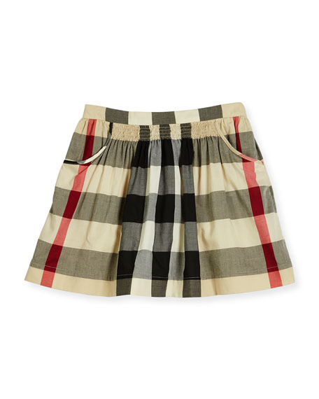 Kayly Check A-Line Skirt, Size 4-14, Beige