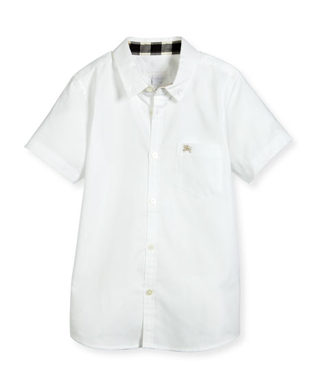 Burberry Fred Short-Sleeve Cotton Poplin Shirt, White, Size