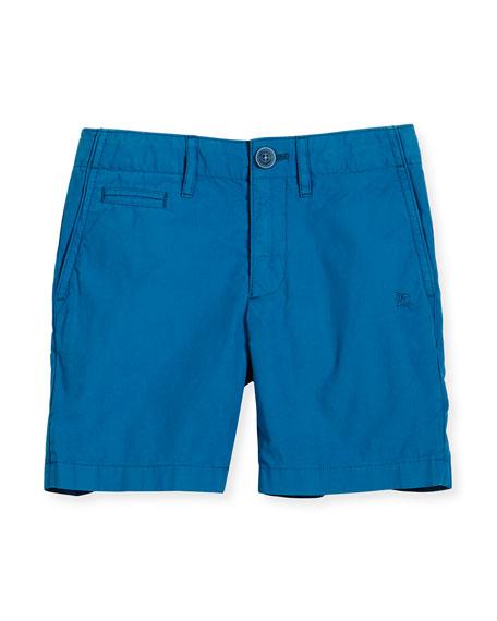 Burberry Cotton Chino Shorts, Blue, Size 4-14
