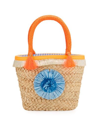Girls' Small Straw Pompom Tote Bag, Beige