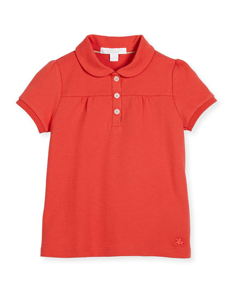 Burberry Karley Pique Polo Shirt, Red, Size 4-14