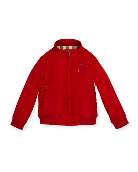 Burberry Bradford Zip-Front Jacket, Red, Size 4-14
