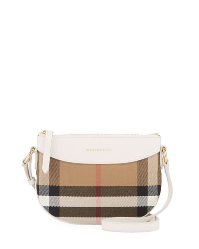 burberry crossbody bag outlet qpy4  Girls' Coca Check Canvas Leather-Trim Crossbody Bag, White