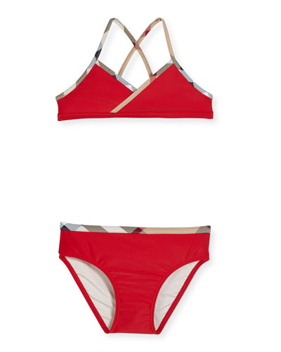 Crosby Cross-Back Two-Piece Swimsuit, Red, Size 4-14