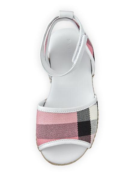 Check Open-Toe Sandal, Blush, Toddler
