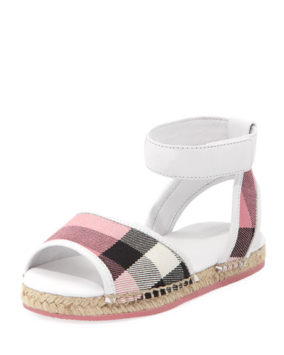 Check Open-Toe Sandal, Blush, Toddler