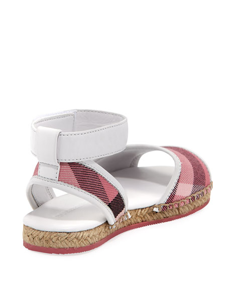 Check Open-Toe Sandal, Blush, Youth