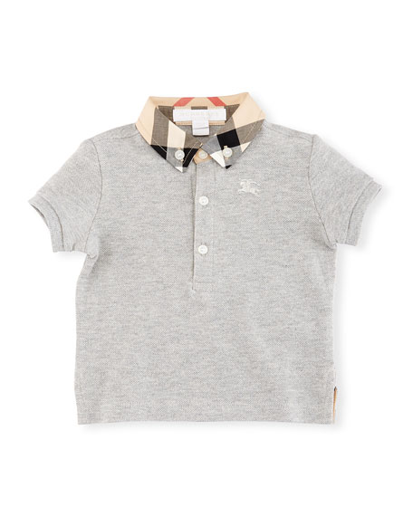 Burberry Mini William Check-Collar Pique Polo Shirt, Gray,