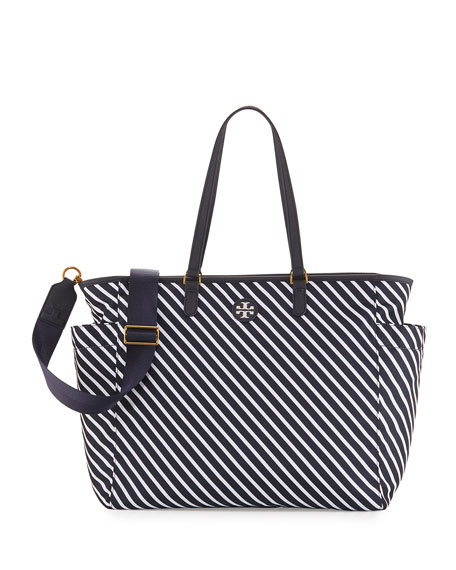 Scout Striped Nylon Baby Tote Bag, Blue/White