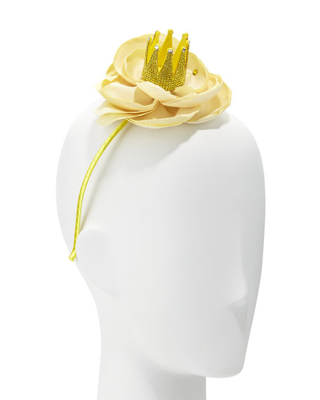Girls' Bella Crystal Crown Floral Headband, Yellow