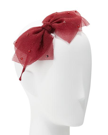 Girls' Mesh Rhinestone Bow Headband, Burgundy