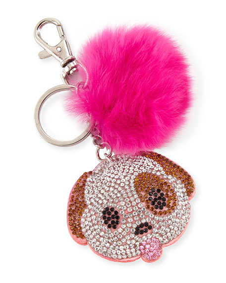 Bari Lynn Girls' Dog Emoji Fur-Pom Key Chain,