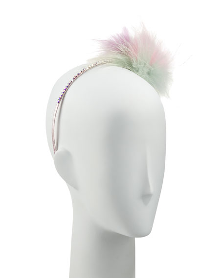 Bari Lynn Girls' Pastel Rhinestone & Fox Fur