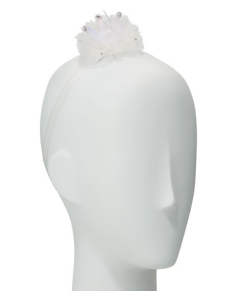 Girls' Flower Pompom Stretch Headband, White