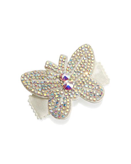Bari Lynn Girls' Rhinestone Butterfly Hair Clip, White