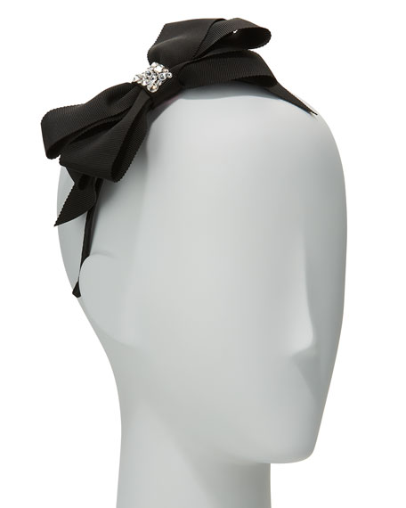 Girls' Grosgrain Bow Headband, Black