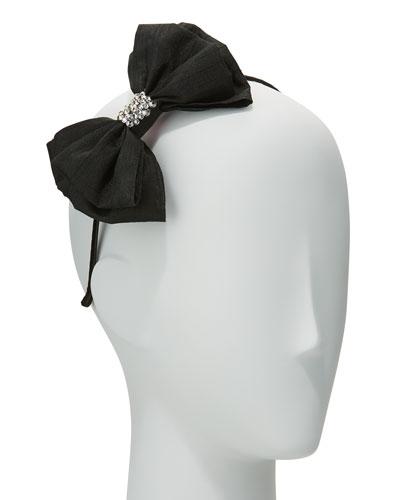 Girls' Taffeta Bow Headband, Black