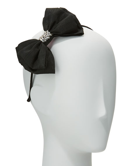Girls' Taffeta Bow Headband, Black