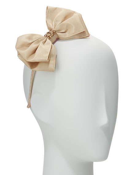 Girls' Taffeta Bow Headband, Gold