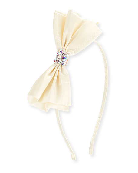 Bari Lynn Girls' Taffeta Bow Headband, White