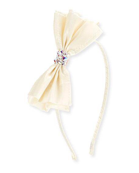 Girls' Taffeta Bow Headband, White