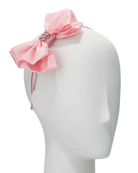 Bari Lynn Girls' Taffeta Bow Headband, Light Pink