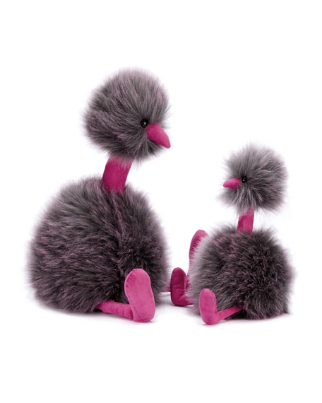 Medium Pompom Plush Animal, Gray