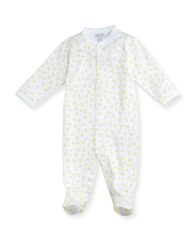 Duck-Print Footie Pajamas, Size 0-9 Months