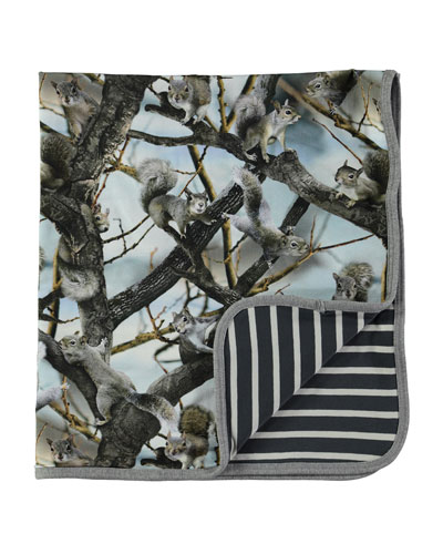 Niles Reversible Squirrels Blanket, Gray