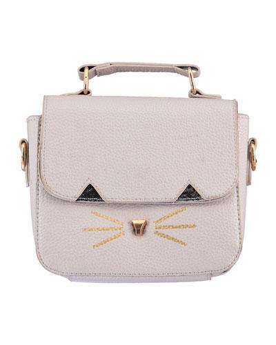 Girls' Faux-Leather Cat Handbag, Blush