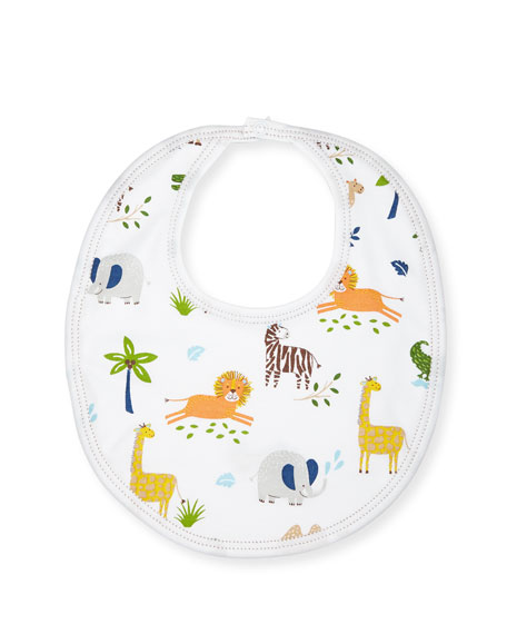 Jungle Jaunt Reversible Pima Baby Bib, Navy/White
