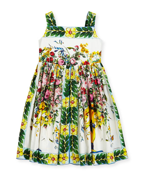 Dolce & Gabbana Flower Vase Printed Cotton Dress,