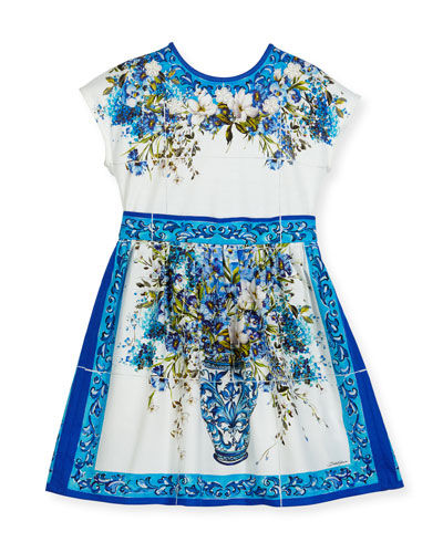 Short-Sleeve Caltagirone Floral Dress, White, Size 2-6