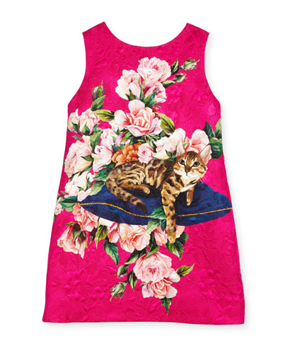 Flower Cat Dress, Pink, Size 4-6