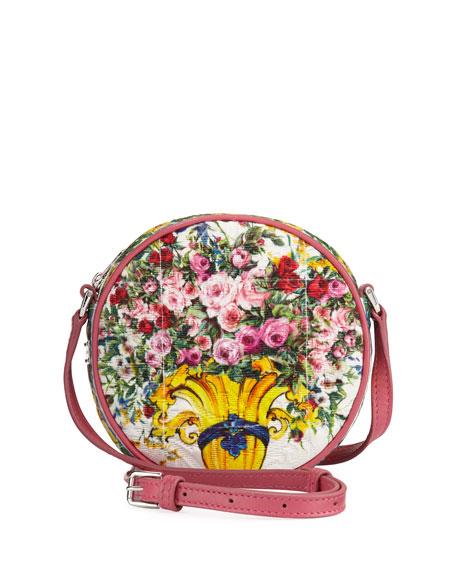 Dolce & Gabbana Girls' Floral Vase Round Crossbody