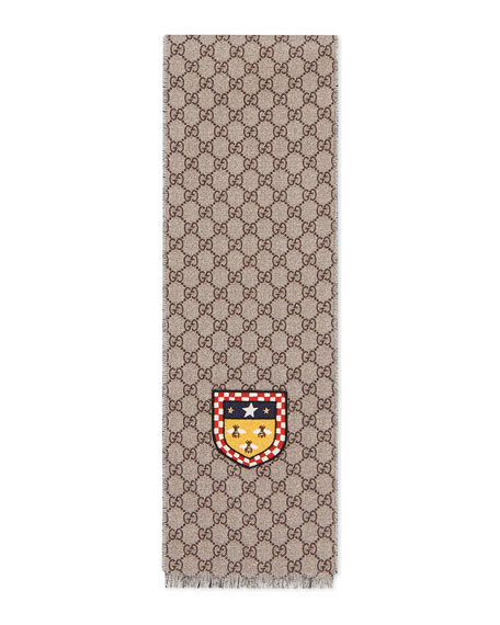 Gucci Girls' GG Supreme Bee Patch Wool Scarf
