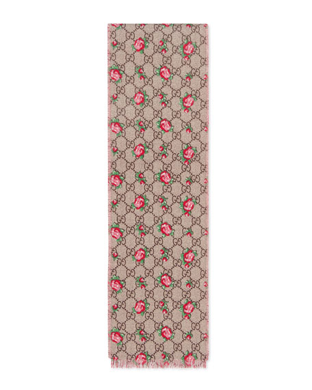 Gucci Girls' GG Supreme & Rose Wool Scarf